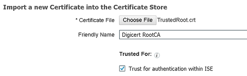 Certificate Import Screen