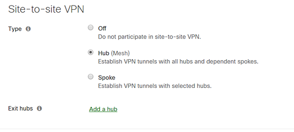 In Security & SD-WAN >Site-to-Site VPN, select Hub for the hub site.  For a full mesh all remotes sites will be selected as hubs as well.
