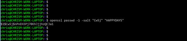 salt value local password