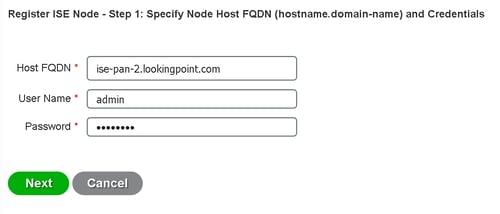 register ISE node step 1